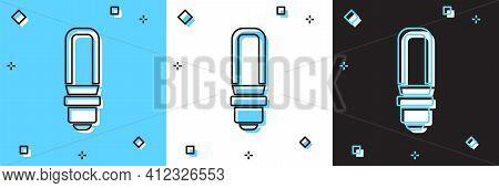 Set Led Light Bulb Icon Isolated On Blue And White, Black Background. Economical Led Illuminated Lig