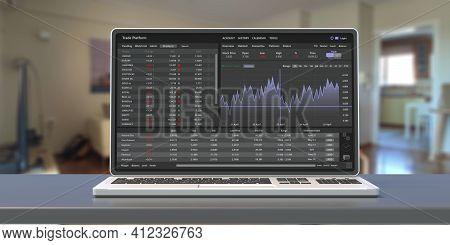 Trade Platform, Forex Trading. Stock Exchange Market Analysis On Laptop Screen, 3D Illustration.