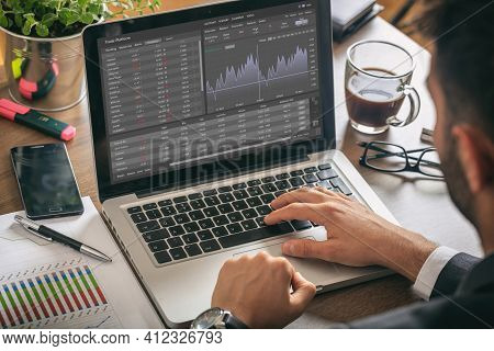 Trade Platform, Forex Trading. Stock Exchange Market Analysis On Laptop Screen