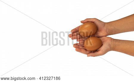 Brown, White Eggs On Hand Isolated On White Background. Kids Hand With Hen Egg Isolated On White Bac