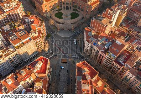 Aerial Drone Shot Of Crossroad In Barcelona In Morning Sunrise