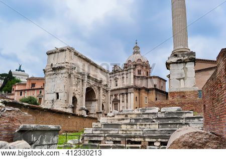 Ancient Roman Forum In Center Of Rome, Italy
