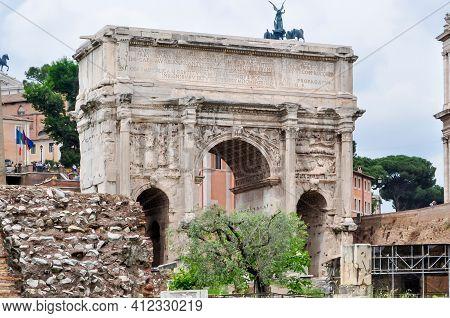 Arch Of Septimius Severus In Roman Forum, Rome, Italy
