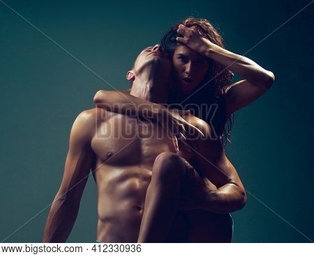 Young Sexy Couple With Sensual Pose Naked Body And Bare Chest