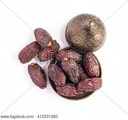 Hurma, Dates. Dried Dates Fruit On White Background. Popular Fruit Of Ramadan.