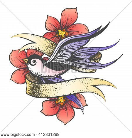 Tattoo Of Swallow With Golden Ribbon And Red Flowers Isolated On White. Vector Illustration.