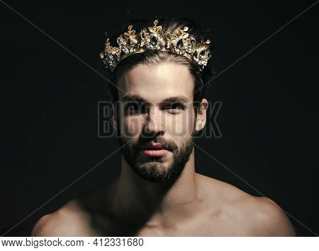 Prince. Freak Man And Transvestite With Naked Chest. Man King Or Cinderella Prince In Crown. Drag Qu