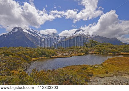 Alpine Vistas On A High Mountain Plateau On The Key On The Routeburn Track On The South Island Of Ne
