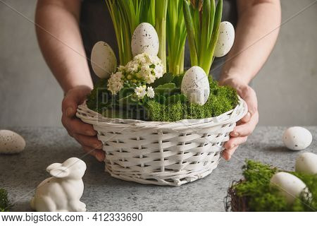 Easter Table Centerpiece With Festive Eggs, Moss And Bunny. Spring Floral Workshop.