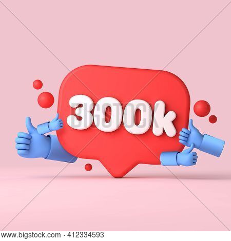 300 Thousand Followers Social Media Banner Thumbs Up. 3d Rendering