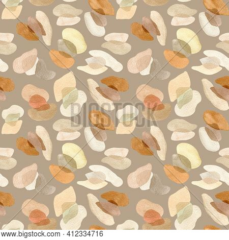 Watercolor Abstract Neutral Shapes Pattern. Trendy Forms Seamless Background. Neutral Minimal Overla