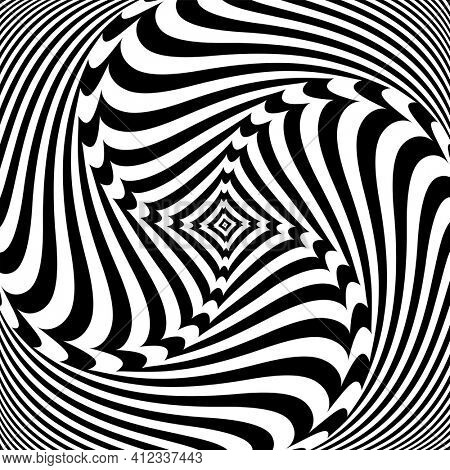 Vortex circular rotation movement illusion in abstract op art design.