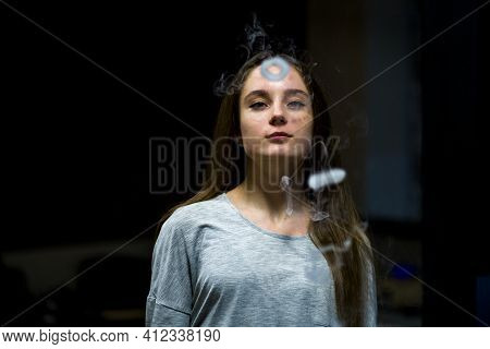 Vaping Teenager. Young Pretty White Caucasian Teenage Girl With Problem Skin Smoking An Electronic C