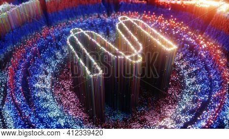 Digital Art Of Mina Protocol Logo Symbol. Cryptocurrency Coin Mina Protocol And Crystals 3d Illustra