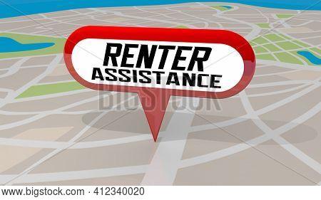 Renter Assistance Financial Help Payment Rent Aid Map Pin 3d Illustration
