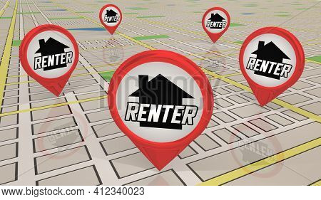 Renter Home Apartment Rent Lease Map Pin Locations 3d Illustration