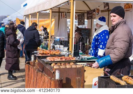 Minsk, Belarus - March 13, 2021: Slavic Holiday Maslenitsa. Traditional Holiday Trade Fair In The Mi