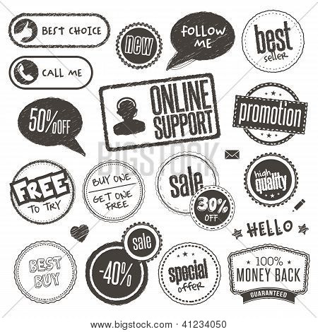 Set of hand drawn style banners and elements