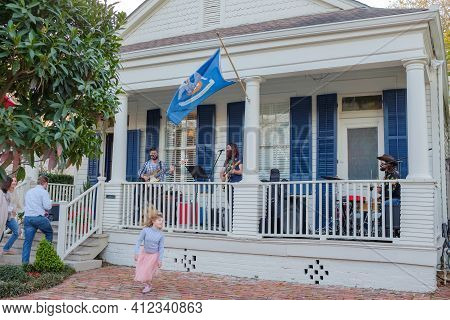New Orleans, La - March 6: Trio Performs Front Porch Concert On Fern Street On March 6, 2021 In New