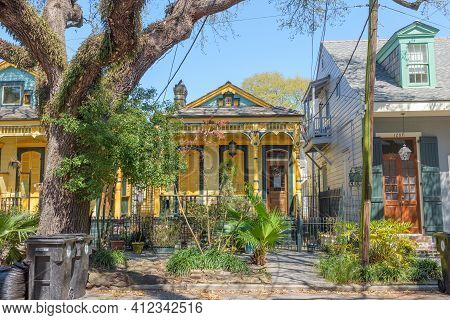 New Orleans, La - March 7: Colorful Historic Homes In Treme Neighborhood On March 7, 2021 In New Orl