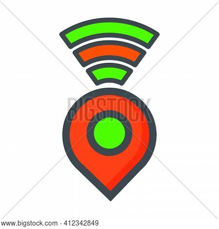 Location Illustration. Location With Wifi Network Icon. Can Use For, Icon Design Element,ui, Web, Ap