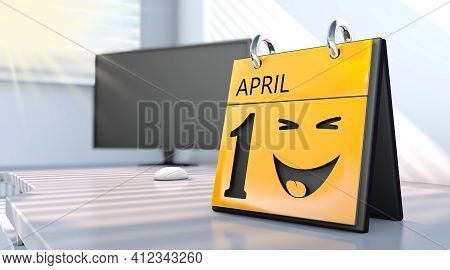 3d Rendering Of A Calendar With The Date Of April 1st In Detail. April Fools Day.