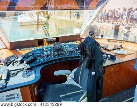 Strasbourg, France - June 18, 2018: Large Glass Windows Of Batorama Tourist Boats The Beauty Of The