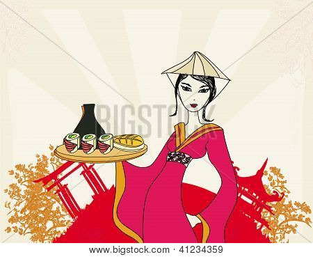 beautiful Asian girl enjoy sushi - menu template poster