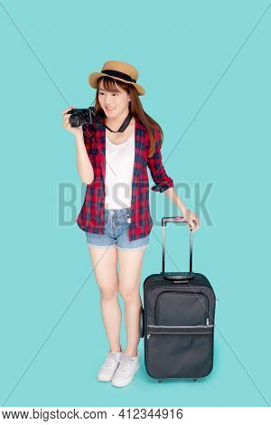 Beautiful Portrait Young Asian Woman Standing With Luggage Smiling And Travel Summer Trip For Abroad