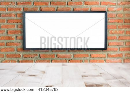 Blank Advertising Billboard Buildings Exterior Brick Wall Background, Commercial And Marketing Conce