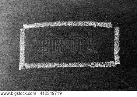White Color Chalk Hand Drawing As Square Or Rectangle Shape On Blackboard Or Chalkboard Background W