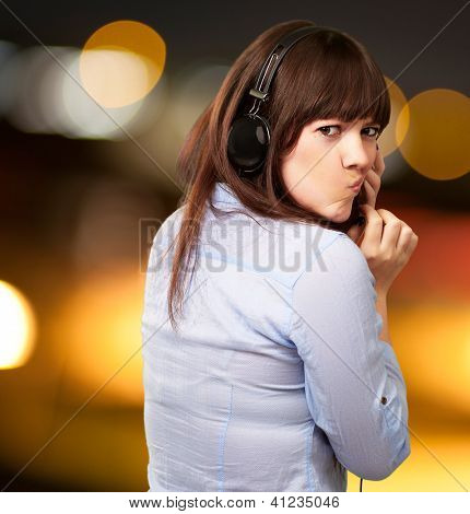 Woman With Headphones And Pouted Lips, Outdoor