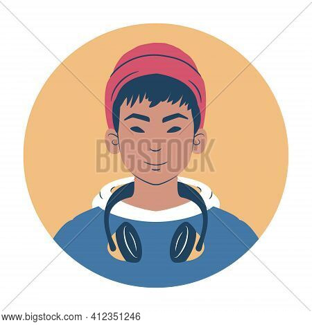 Young Man Portrait. Avatar Of An Asian Teenager In Hoodie Wearing A Beanie And Headphones. Flat Styl
