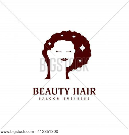 Beauty Natural Hair Dresser Saloon Logo Icon Symbol With Calm Woman Silhouette Curly Afro Hair