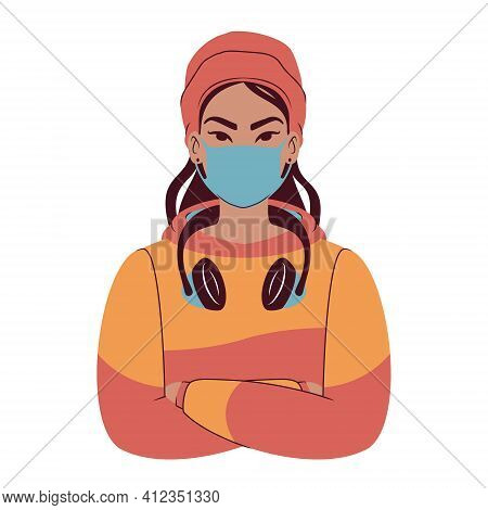 Portrait Of A Young Asian Woman In A Colorful Hoodie Wearing A Beanie, Headphones And Face Mask. Car