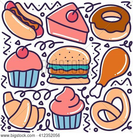 Hand Drawn Desserts Menu Doodle Set With Icons And Design Elements