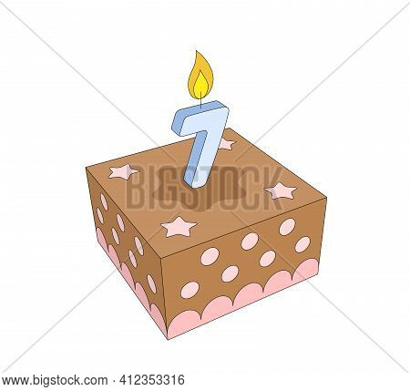 Cute Seven Year Old Girl Or Boy Chocolate Birthday Cake With Lighted Blue Candle And Pink Stars And