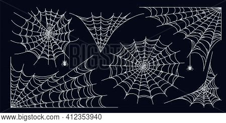 Spider Web Set Isolated On Dark Background. Spooky Halloween Cobwebs With Spiders. Outline Vector Il