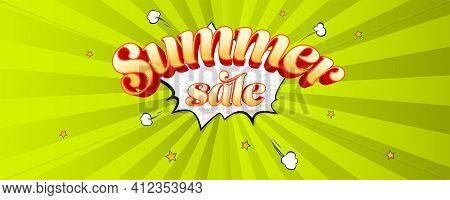 Summer Sale. Volumetric Vintage Text On Speech Bubble Background. Vector Cartoon Background With Ray