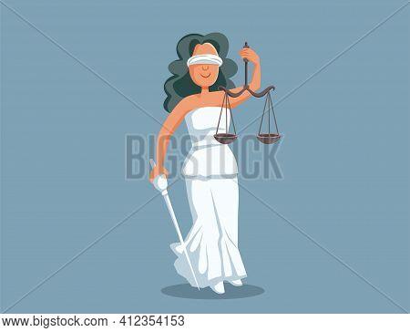 Statue Of Lady Justice Vector Cartoon Illustration
