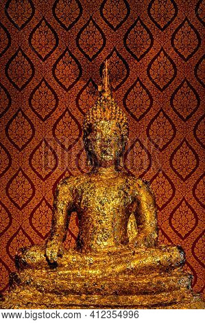 Golden Buddha Statue Antique In The Temple Buddhism, Gold Antique Buddha Statue In Religion Buddhism