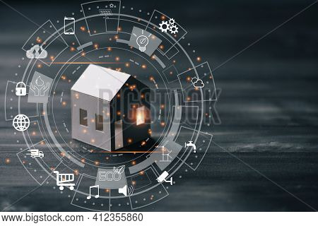 Circular Futuristic Interface Of Smart Home Automation Assistant On A Virtual Screen,smart  Home Con