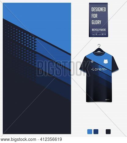 Soccer Jersey Pattern Design. Geometric Pattern On Blue Abstract Background For Soccer Kit, Football