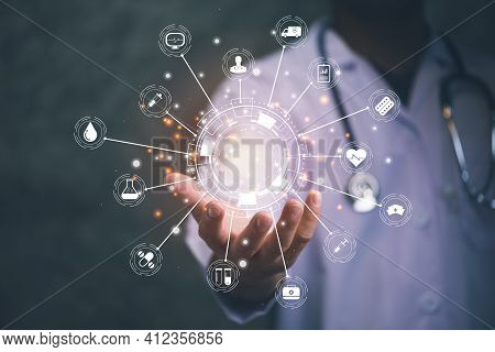Doctor And Stethoscope Holding Icon Medical Network Connection With Modern Virtual Screen Interface,