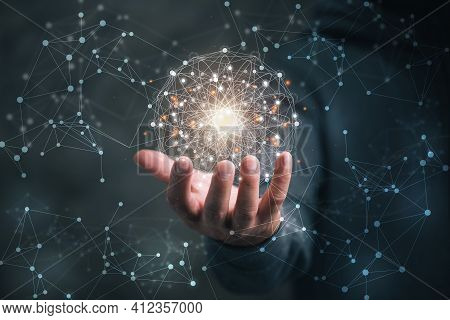 Man Holding Circle Global Network Connection And Data Exchanges Worldwide On Work Place Background,
