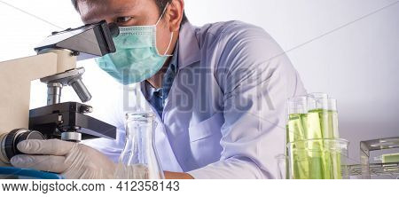 Science Sciences Are Using A Microscope In Research.science Background.laboratory Research Concept