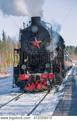 Ruskeala, Russia - March 10, 2017: Soviet Mainline Steam Locomotive Series