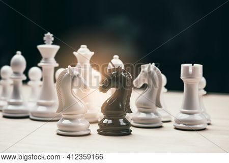 Chess Knights Head To Head.black And White Chess Battle,chess Victory,chess Concept. Strategy, Manag