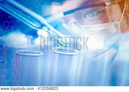 Double Exposure Scientists And Scientific Equipment In The Laboratory,laboratory Research Concept.sc