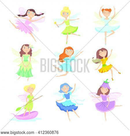 Cartoon Fairies Set. Cute Female Characters In Beautiful Dresses With Wings And Magic Wand Isolated